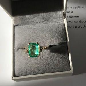 Jewelry - GIA 2.4ct emerald ring 4 colorless diamonds